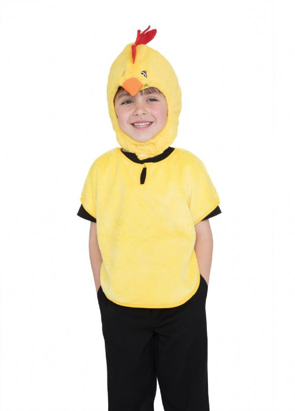 Unisex Chick Tabard Hood & Tail Costume Book Day Animal Fancy Dress Outfit